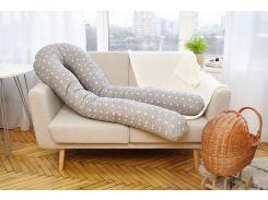 Наволочка на подушку для беременных Добрый сон 120 см серая в звезды (13-01-1/1)