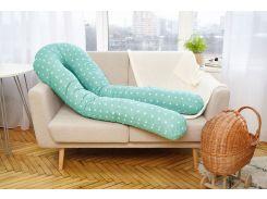 Подушка для беременных 3 в 1 Добрый сон U-образная 120 см мятная в звезды (13-01/7)