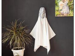 Полотенце с капюшоном Добрый сон вафельное полотно белый с цветочками (17-01/4)
