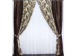 Комбинированные шторы VR-Textil блэкаут коричневый с бежевым 2 шт 1,5 × 2,7 м (2018)