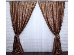 Шторы VR-Textil коллекция Вензель светло-коричневый 2 шт 1,5 × 2,8 м (2180)