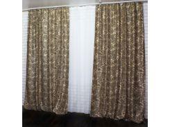 Шторы VR-Textil коллекция Дамаск бежево-коричневый 2 шт 1,5 × 2,8 м (2077)