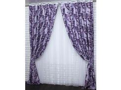 Шторы VR-Textil коллекция Лилия блэкаут фиолетовый 2 шт 1 × 2,7 м (2027)