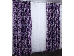Шторы VR-Textil коллекция Лилия блэкаут фиолетовый 2 шт 1,5 × 2,75 м (2068)