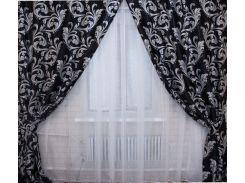 Шторы VR-Textil коллекция Лилия блэкаут черный 2 шт 1 × 2,7 м (2025)