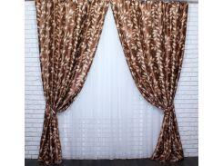 Шторы VR-Textil коллекция Листочки блэкаут коричневый 2 шт 1,5 × 2,7 м (2153)