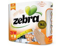 Кухонные полотенца Zebra Daily XL трехслойные в упаковке 2 рулона (3800090300274)