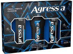 Подарочный набор men Agressia Sensitive крем для бритья крем после бритья гель для душа (NPA023)