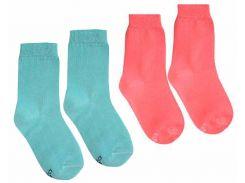 Набор детских носков Duna Дюна однотонные 12-14 р 2 пары бирюзовый и персик (471/12-14б-п)