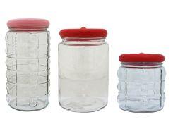 Набор Sarina Баночки для хранения сыпучих продуктов с вакуумной крышкой 3 шт 1000 мл 1500 мл 2000 мл (S-233-234-235pn)