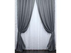 Шторы VR-Textil коллекция Лен Мешковина серые 2 шт 1,5 × 2,75 м (2166)