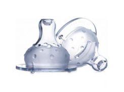 Соска двухкомпонентная непроливайка Мультипоток, широкое горло, 2шт., 6м+, Nuby
