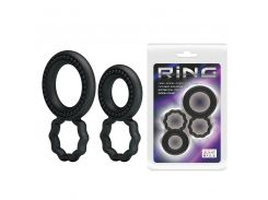 Эрекционные кольца - Ring Set Double-Ring Black, 2 шт.