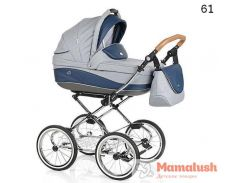 Детская коляска Roan Emma 2 в 1 61 Серый/Синяя кожа