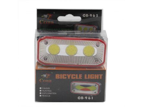 Фонарь велосипедный аккумуляторный с зарядкой CB-963, на клипсе