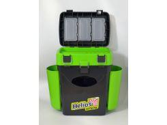 Ящик для зимней рыбалки FISHBOX Helios двухсекционный 10л ХА-1034, зеленый