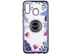 TPU чехол Shengo со стразами и кольцом-держателем для Samsung Galaxy A20 / A30