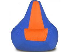 Кресло-мешок Груша Хатка Элит большая Синяя с Оранжевым