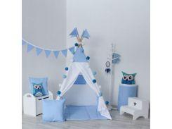 Вигвам Хатка комплект Закат Белый с синим с подушкой