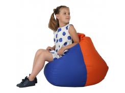 Кресло-мешок Груша Хатка средняя Синяя с Оранжевым (подростковая)