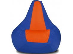 Кресло-мешок Груша Хатка Элит детская Синяя с Оранжевым (до 5 лет)