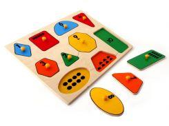 Рамка вкладыши Геометрические фигуры математика Lam Toys 10 деталей 32.00х24.00х0.90 (5004)